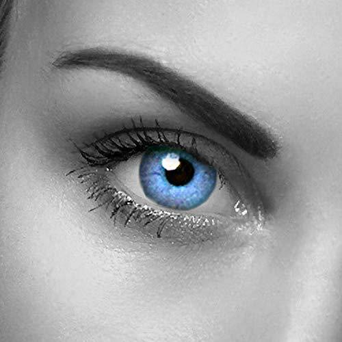 """2x Farbige Kontaktlinsen""""Aqua"""" 2x meeresblaue Kontaktlinsen ohne Stärke + gratis Kontaktlinsenbehälter - Ozeanblau"""