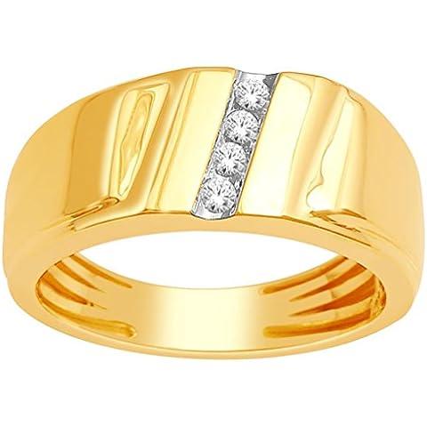 Rings-MidwestJewellery.com-Fede nuziale da uomo in oro giallo 10 kt, larghezza 8,5 mm, diamanti 1/10Cttw Comfort, (Oro Giallo Mens Wedding Band)