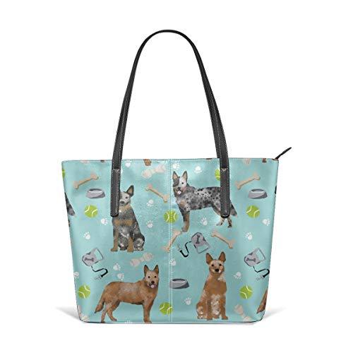 hulili Damen Schultertasche aus weichem Leder Australian Cattle Dog Blau und Rot Fersen und Spielzeug - Hellblaue Mode Handtaschen Umhängetasche Geldbörse