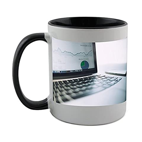Mug with black coat inside of Analytics, Charts, Traffic, Marketing