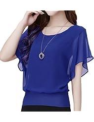 QHGstore Mujeres camiseta de verano de gasa Top Batwing camisa de manga corta suelta blusa casual azul oscuro L