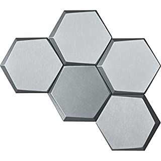 Art3d 20-Pieces Decorative 3D Wall Panels Faux Leather Tile, Silver Hexagon