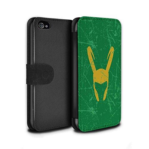 Stuff4® PU-Leder Hülle/Case/Tasche/Cover für Apple iPhone 4/4S / Loki Helm Inspiriert Muster/Antiheld Comic-Kunst Kollektion (4 Marvel-comic-iphone Fälle)