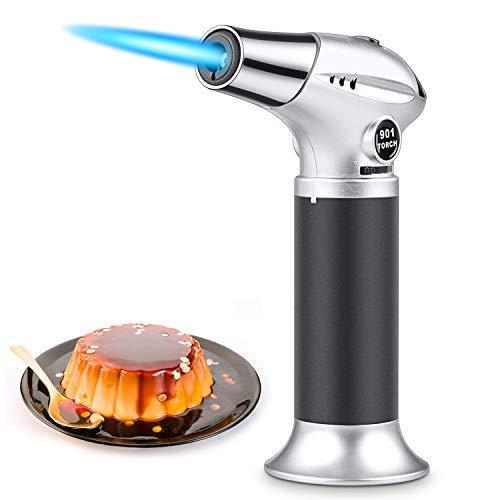 Flambierbrenner Butan Gasbrenner mit Sicherheitsschloss Küchenbrenner einstellbar Flammentemperatur Bunsenbrenner für Creme Brulee, Gebäck, Desserts, Camping