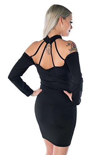 HO-Ersoka signore del mini vestito Clubwear maniche lunghe nero senza spalline Nero