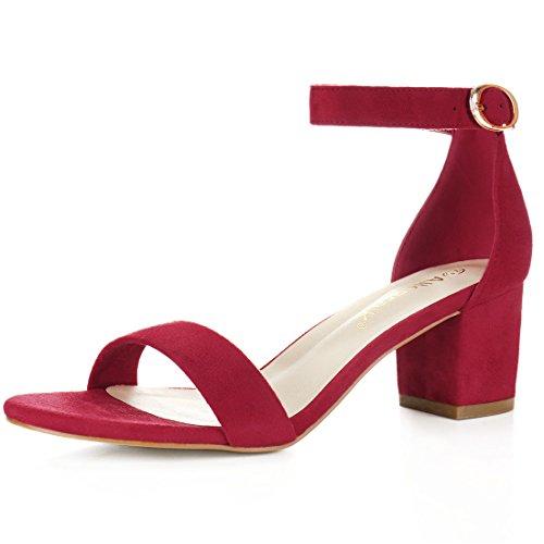 Allegra K Sandalias De Tiras De Tobillo Tacón Medio De Bloque Punta Abierta para Mujer - Rojo/US 7, EU 37.5