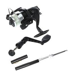 Lixada Aluminum Mini Retractable Pocket Pen Fishing Rod Pole With Fishing Reel&fishing Line