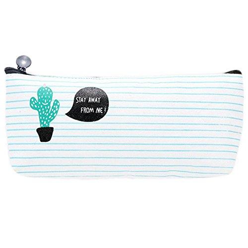 Hosaire 1x Federmäppchen Stifteköcher Style Süßer ein Motiv-Kaktus Leinwand-Stift Aufbewahrungstasche für der Bleistifte oder Kosmetika 20.5*9.5*4cm-Type1
