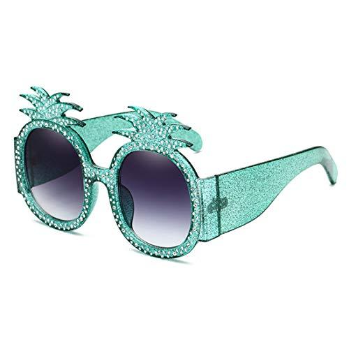 Polarisierte Sonnenbrille mit UV-Schutz Sonnenbrille mit Ananas-Ananas mit Kristall Unregelmäßige übergroße Sonnenbrille Umrandete Sonnenbrille UV-Schutz Persönlichkeit Coole Lady-Sonnenbrille für das