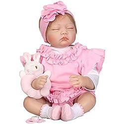 Junlinto, 55 cm Silicona Muñeca Durmiendo Cesta Rosa Conejo Realista Bebé Juguetes Infancia Temprana