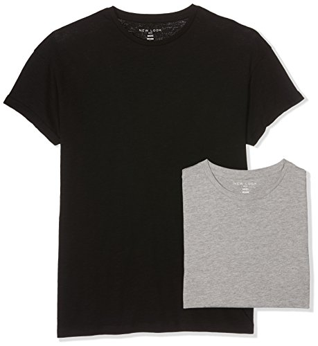 New Look Herren T-Shirt High Roll 2er Pack Grau (Mid Grey)