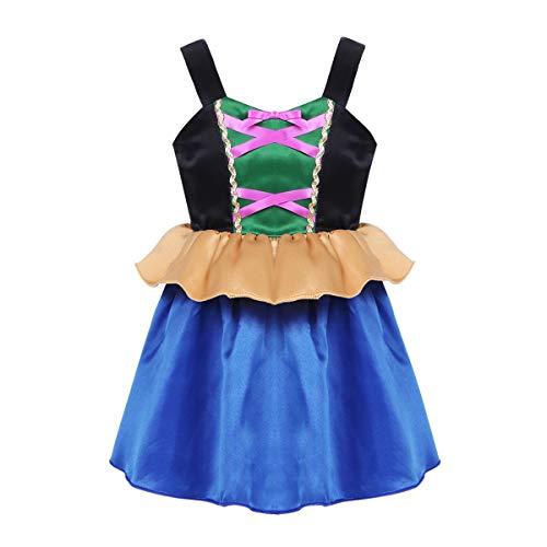 iixpin Mädchen Prinzessin Kostüm Kinder Prinzessin Kleider Märchen Cosplay Halloween Karneval Fasching Kostüm Blau 110