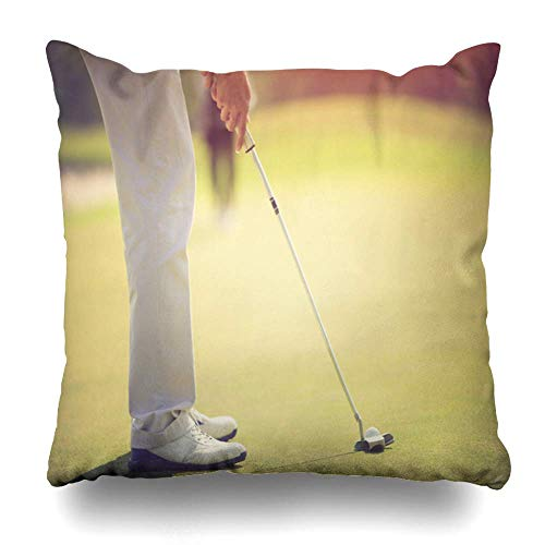 Set of 4 Throw Pillow Cover Square 18x18 Inches Play Activity Golf Player Putting Green Hitting Ball Sports Recreation Active Closeup Club Cushion Pillow Case Home Decor Zippered Pillowcase