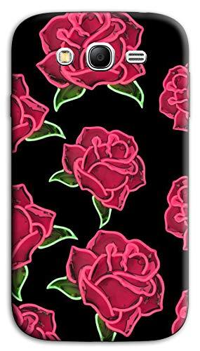 Mixroom - Cover Custodia Case in TPU Silicone Morbida per Samsung Galaxy Grand Neo I9060 (Plus) M743 Rose Sfondo Nero