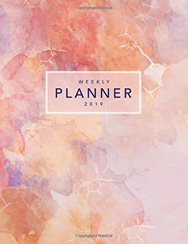 Weekly Planner 2019: Pink Rose Marble | 8.5 x 11 in | Weekly View 2019 Planner Organizer with Dotted Grid Pages + Motivational Quotes + To-Do Lists