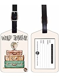 Nutcase Designer Luggage Travel Baggage SET OF 2 PU Leather Tags -WORLD TRAVELER