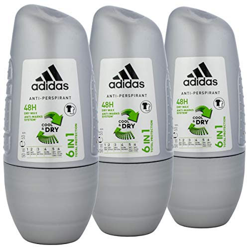 adidas for Men 6in1 Cool & Dry Deo Roll-on 50ml - 3 Stück pro Pack = 150ml!