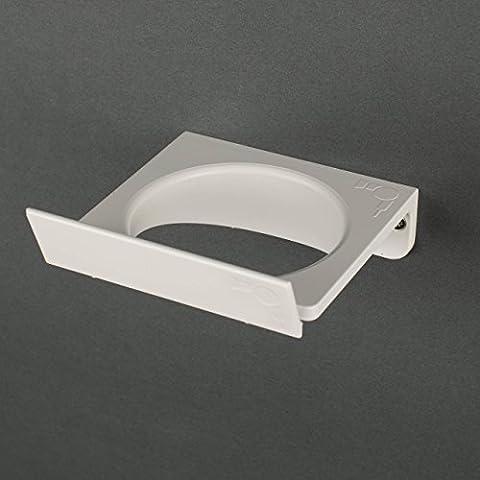 Soporte de pared para secador de pelo T- PHON by Kreall .Paquete con n. 1 soporte de secador de pelo en plástico. Diseño y fabricación Made in Italy. Completar con accesorios para el montaje en la puerta del mueble y la pared.