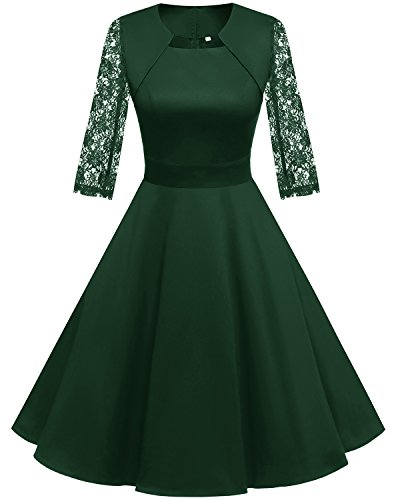 HomRain Damen 50er Vintage Retro Kleid Party Langarm Rockabilly Cocktail Abendkleider Green-1 L -