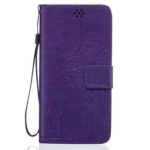 iPhone Case Cover IPhone 6s Plus Case, de haute qualité Premium PU Housse en cuir Housse de couleur solide Dandelion Embossing Portefeuille Case Housse pour iPhone 6 Plus 6S Plus ( Color : Green , Siz Purple