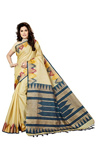 Rani Saahiba Art Silk Saree with Blouse Piece (SKR3521_Beige - Blue_One Size)