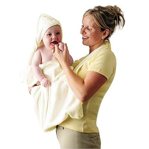 Clevamama Extra großer mit Kapuze Baby Handtuch und Schürze Wrap–Creme (Creme Schürze)