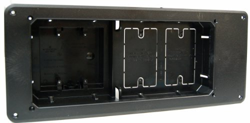 Arlington TVB613BL-1 Recessed TV Outlet Box with Paintable Trim Plate, Black, 4-Gang by Arlington Industries