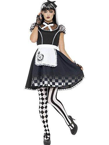 Smiffys, Damen Gothic Alice Kostüm, Kleid mit Schürze und Haarband, Größe: 36-38, (Halloween Böse Fee Kostüme)