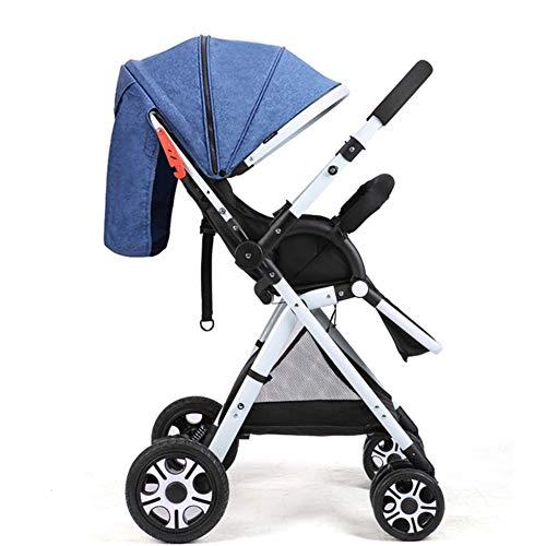DFSSD Buggy-Kinderwagen, Reisekinderwagen, Abschließbarer 5-Punkt-Sicherheitsgurt Mit Schwenkrad, Sitzverstellung in Mehreren Positionen, Sichtfenster, Doppelte Hinterradbremse,Blau