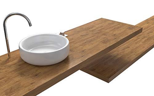Ve.ca-italy mensola lavabo 120x40x8 cm spessore 8 cm naxos faggio