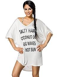 Oversize Shirt Top mit Aufdruck und weitem Ausschnitt & überschnittene Schulter