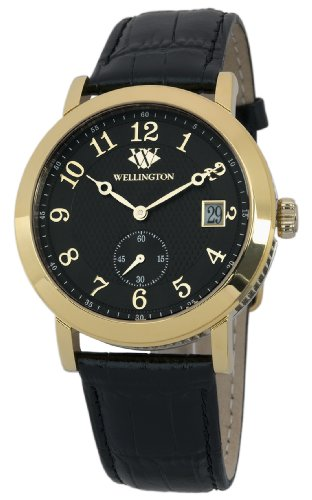 Wellington Balfour Men's Quartz Watch with Black Dial Analogue Display and Black Leather Strap WN509-222