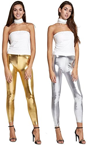 Crazy Girls Red Olives® Womens Ladies Metallic Shiny Glanz Wet Look Leggings S/M-XXL