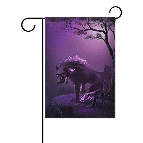 ALAZA Werwolf in Dark Night Dekorative Double Sided Garten Flagge