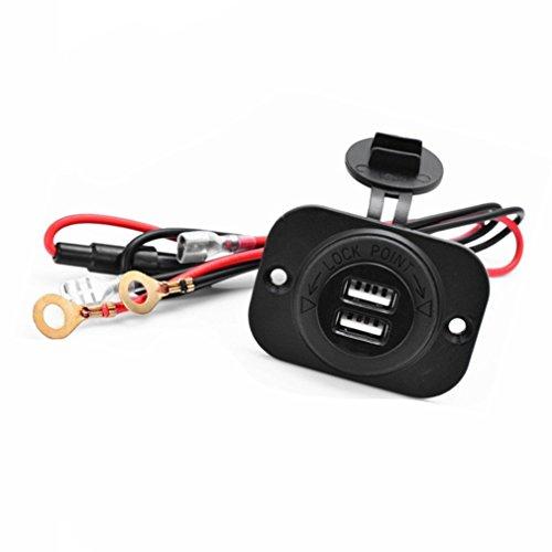 Qiorange 2 in 1 Wasserdicht Zigarettenanzünder Buchse Power Plug + Dual USB Ladegerät Buchse + 60CM Power Kabel mit Sicherung für Motorrad Auto Boot (Dual USB Ladegerät) (Amp-power-kabel Sicherung)