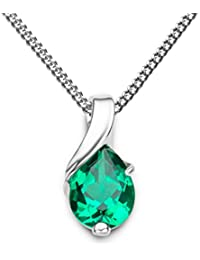Miore Necklace - Pendant Women Chain Emerald White Gold 9 Kt/375 Chain 45 cm