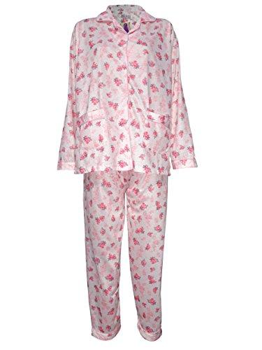 Damen Schlafanzug Flower Print Pyjama Night Suit Nighty Baumwolle Revere Kragen 8–20 Gr. 42, pfirsich (Frauen Oben Ditsy)