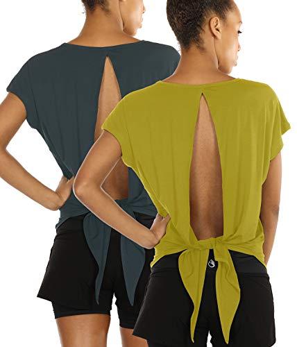 Rayon-bluse Top (icyzone Damen Rückenfrei Sport Yoga T-Shirts Fitness Kurzarm Oberteil Tops Loose Fit, 2er Pack (XL, Sea Pine/Mustard))