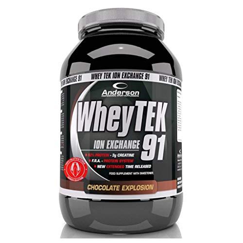 Integratore anderson whey tek protein proteine del siero isolate con aminoacidi e creatina 800g doppio cioccolato