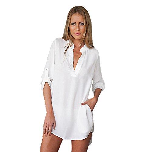 Ulanda-EU Damen Lange Ärmel V Ausschnitt Longshirts Casual Blusenkleid Minikleid Teenager Mädchen Irregular Asymmetrisch Oberteil Hemd Bluse Tops Lang mit Einstellbare Ärmeln (Weiß, S) -