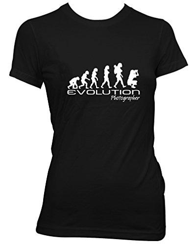 Evolution of a photographer Ladies Para Mujer Camiseta camera photo unique funny gift t shirt wom...