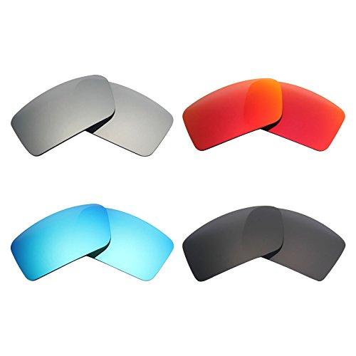 MRY 4Paar Polarisierte Ersatz Gläser für Oakley Gascan Small sunglasses-stealth schwarz/fire rot/ice blau/silber titan