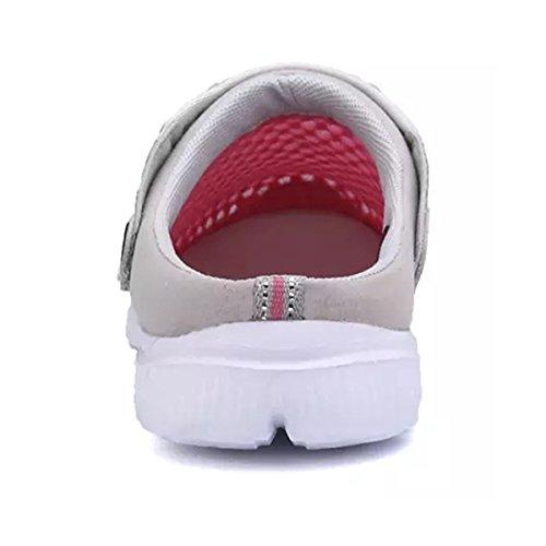 34fe790c66e0 ... Hishoes Sabots Chaussons Homme Femme Été Pantoufles Maille Sandales  Léger Chaussures de Plage et Jardin Rose ...