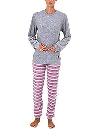 Damen Frottee Pyjama Schlafanzug Langarm mit Bündchen und Sterne Motiv - 281 201 03 001