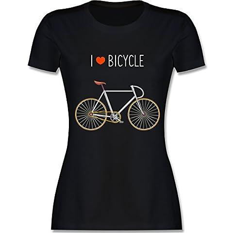 Biker - I Love Bicycle - M - Schwarz - L191 - Das Beste Frauen Shirt von #RedSkullBikerFashion