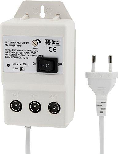 Digital Amplificador de antena para 2dispositivos–UHF 20dB–VHF -36db–0–900MHz–adecuado para cable de TV DVB-T Sky