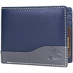 Hornbull Buttler Men's Navy Genuine Leather RFID Blocking Wallet