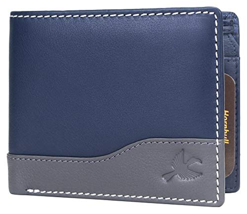 Hornbull Buttler Men's Navy Genuine Leather RFID Blocking Wallet