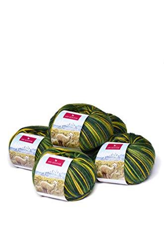 APU KUNTUR Alpaka Socken-Wolle | Strick-Häkel-Garn weich, warm und kratzfrei | 5er Vorteilspack | 200m, Nadel 2,5 | wunderschöne Farben zum angenehmen Stricken und häkeln | grün-gelb -