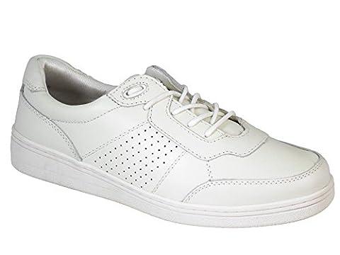 Ladies Pelham Pebble Leather Lawn Bowling Shoes White UK 5